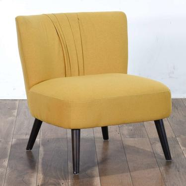 Contemporary Yellow Art Deco Pleated Back Accent Chair
