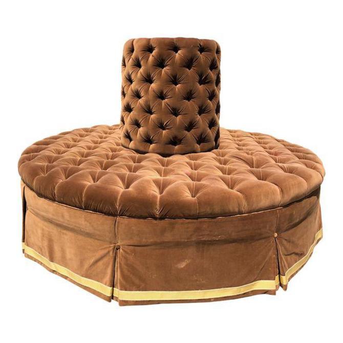 French Silk-Velvet Tufted Circular Sofa..