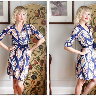 1940s Dress // Bright Seersucker Cotton Summer Robe or Wrap Dress // vintage 40s dress by dethrosevintage