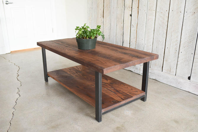 Coffee Table With Lower Shelf / Rustic Reclaimed Wood Coffee Table / Industrial Reclaimed Coffee Table by wwmake