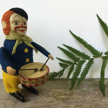 Antique Schuco Wind Up Clown Drummer, Monkey Clown, Made In Germany, Drumming Clown, Read Entire Description by luckduck