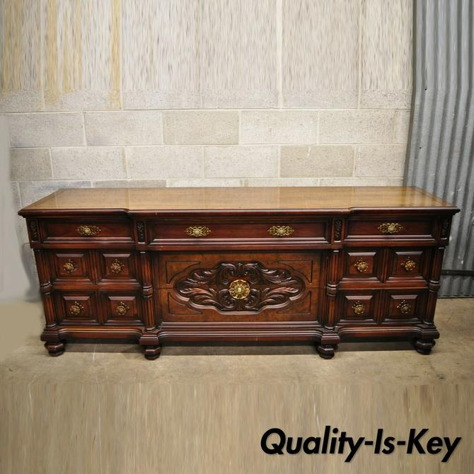 Vtg Italian Mediterranean Hollywood Regency Carved Wooden Credenza Long Dresser