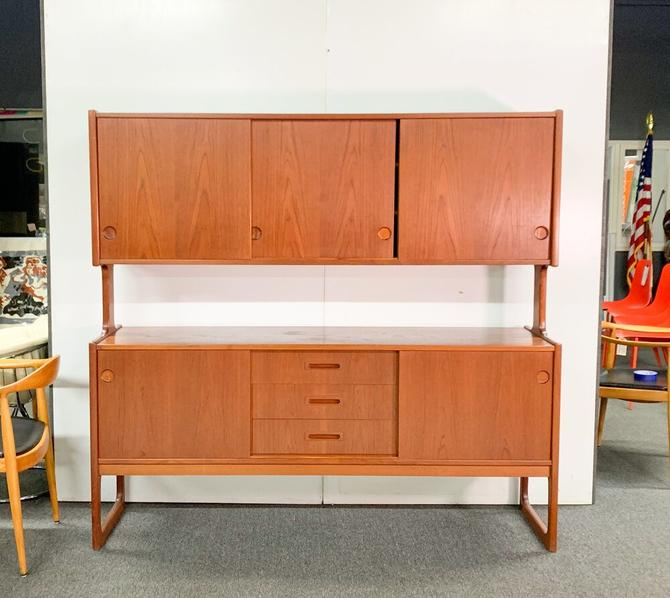 Danish teak credenza with floating hutch