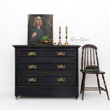 Black Antique Dresser, Painted Chest of Drawers by GreenSpruceDesigns