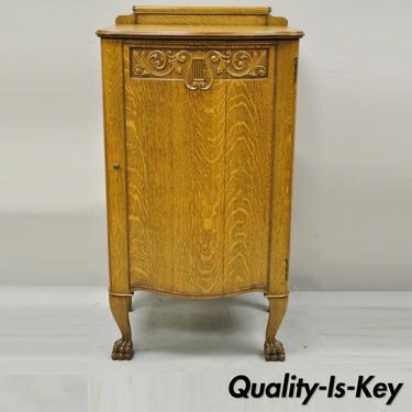 Antique Victorian Golden Oak Carved Lyre Harp Paw Feet Sheet Music Cabinet