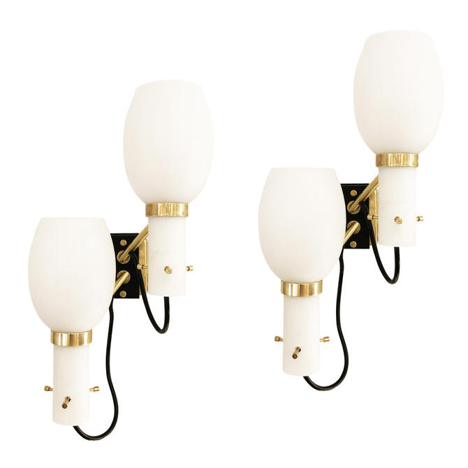 Pair of Stilnovo Wall Lights with Frosted Glass Shades