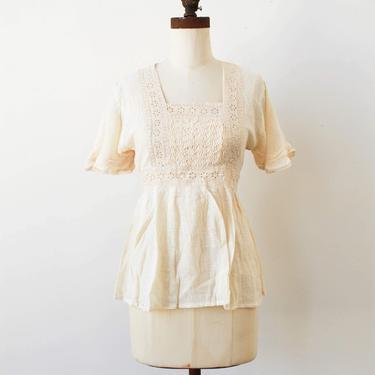 vintage 1970s deadstock eyelet gauzy blouse by blossomvintageshop