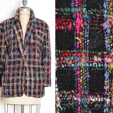 vintage 90s jacket black colorful plaid fringe hairy blazer coat top M clothing by huncamuncavintage