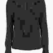 Escada - Black & White Polka Dot Ruffled Silk Long Sleeve Blouse Sz L