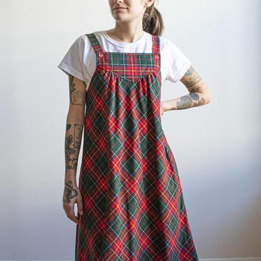 Vintage 1970s Plaid Jumper Dress / Vintage Plaid Wool Jumper Dress / 1970s Fall Dress / Vintage Winter Dress Small / Plaid Wool 70s Dress S by milkandice