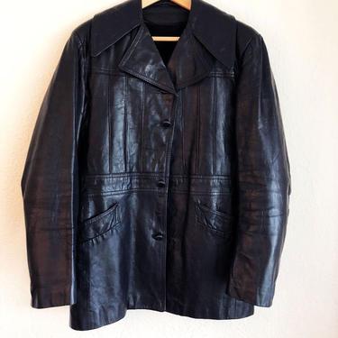 """1970's Mens Vintage Black Leather Jacket Coat, Blazer, Removable Warm Faux Fur Liner, SIZE: 38 , 42"""" Chest , Medium by Boutique369"""