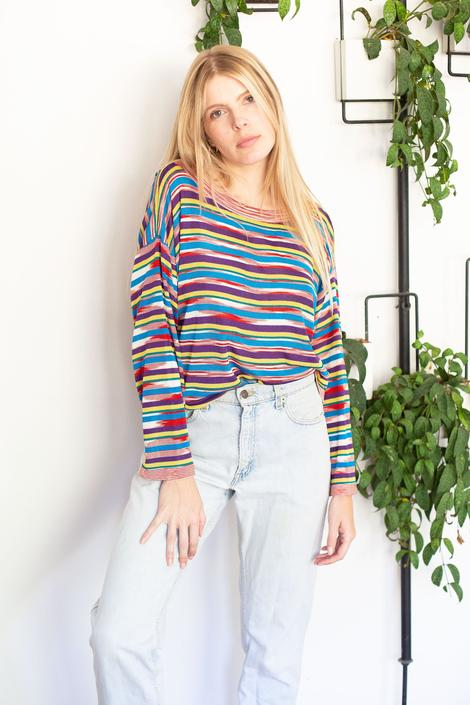 Vintage Missoni 1990s Rainbow Striped Silk Knit Top S M L Boat Neck 90s Multicolor Sweater Blouse by backroomclothing