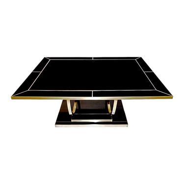 Contemporary Art Deco Italian Black Glass & Brass Sofa Table on Curved Legs
