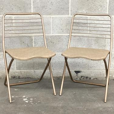 Vintage Folding Chairs Retro 1980s Contemporary + Bronze Metal Frames + Vinyl Seats + Two Sets of 2 Available + Indoor or Outdoor Seating by RetrospectVintage215