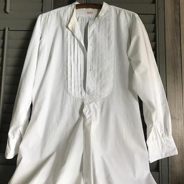 Antique French Mens White Linen Shirt, Dress, Bed Shirt, Night Shirt, Original Label, Monogram, Period Clothing by JansVintageStuff