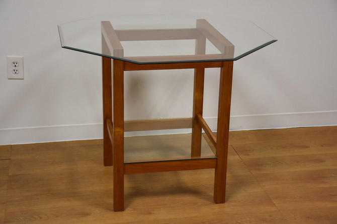 Teak and Glass Dinette Table by mixedmodern1