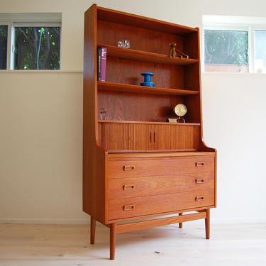 Danish Modern Teak Secretary Desk with Bookcase Johannes Sorth Bornholm made in Denmark by MidCentury55