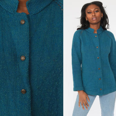 Blue Cardigan Sweater 70s Sweater Raglan Sleeve Plain Wool Blend Button Up Grandma Sweater Slouchy Boho Vintage 80s Bohemian Medium by ShopExile