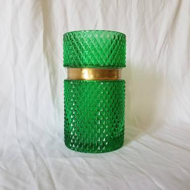 Vintage Green Glass Vase, Large / Flashed Sawtooth Cut Glass Flower Vase with Brass Band / Colorful Mid Century Holiday Table Centerpiece by SoughtClothier