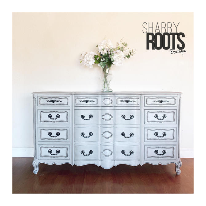 NEW! Large Antique French Provincial dresser chest of drawers- two tone grey, gray, with black glaze. Solid wood vintage piece. SF Bay Area by ShabbyRootsBoutique