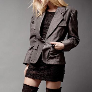 "silver blazer jacket Vintage 90s Isaac Mizrahi Wool Metallic Pewter Black Shiny M L medium large (40"" Bust) by shoprabbithole"