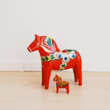 Vintage Swedish Dala Painted Orange Wooden Horses Nils Olsson Nusnas by MidCentury55
