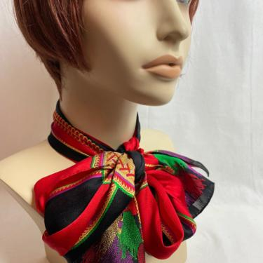 Vintage beautiful soft silk ~ extra long scarf~ rich colorful~ bold print~ red & black~ tassels pattern~ vintage all silk neck/  hair wrap by HattiesVintagePDX