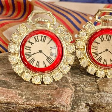 Watch Face, Clock, Vintage Cuff Links, Rhinestones, Gold Tone Cufflinks, Kitschy, Vintage 70s by GabAboutVintage