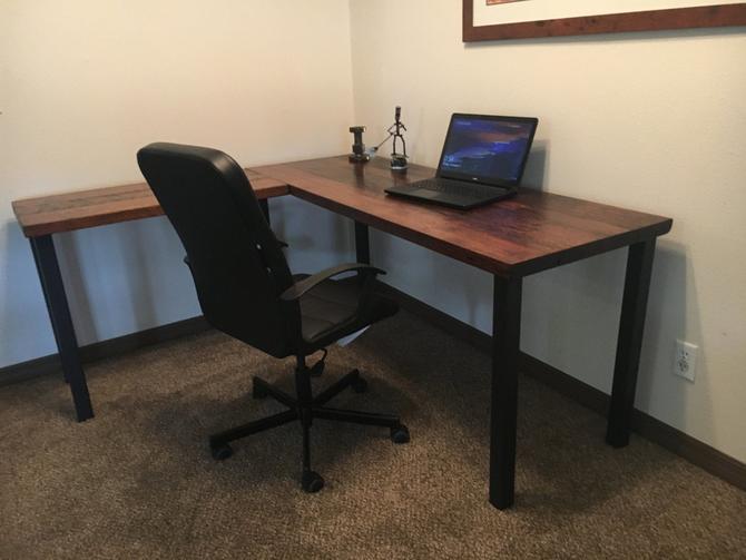 L-shaped Desk. Reclaimed wood desk. Old rustic desk. Industrial desk. Executive desk. Wood and metal desk. Corner desk. Post Leg desk by UrbanIndustrialNW