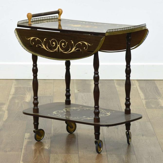 Italian Marquetry Rolling Bar Cart W Brass Details