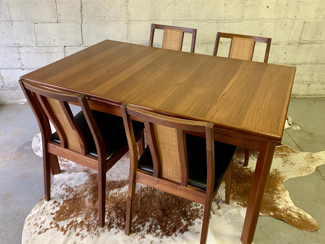 Mid Century Modern TEAK Danish DINING TABLE with hidden expansion leaves by CIRCA60