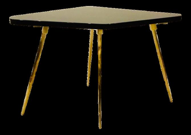 Caracole Signature Modern Black Lacquer and Textured Brass the Trilogy Side Table