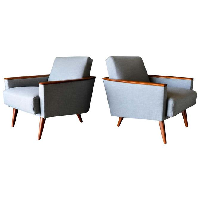 Pair of Mid Century Modern Wood Framed Lounge Chairs, ca. 1960