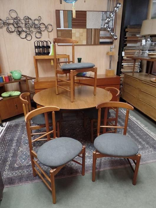 Set of six Danish Modern dining chairs with new upholstery