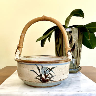 Vintage Stoneware Pottery Basket or Bowl with Bent Wood Bamboo Handle - Handmade, Ceramic, Hand Painted, Artist Signed, Blue Brown Flowers by VenerablePastiche