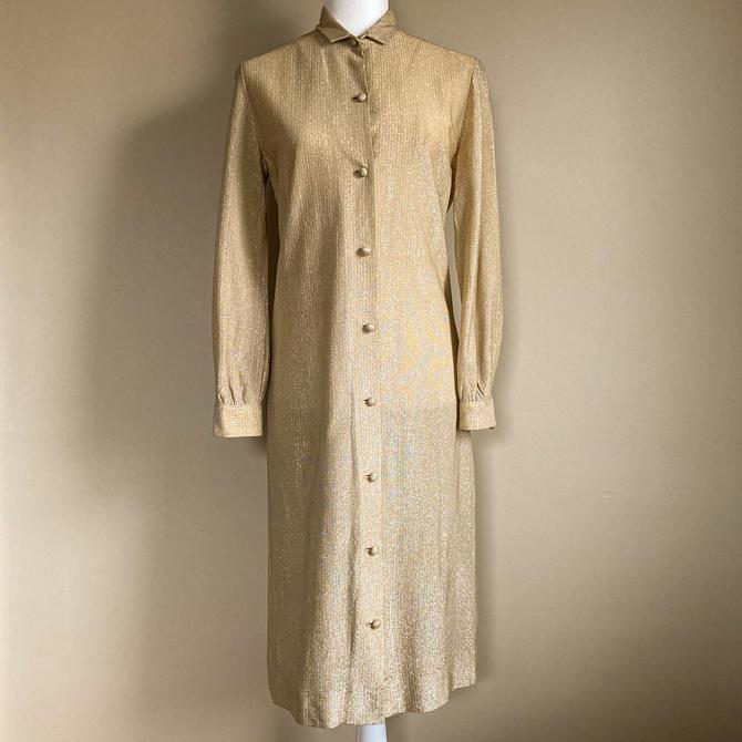 60s Gold Lurex Shirt Dress | Small/Medium by MuteVintage