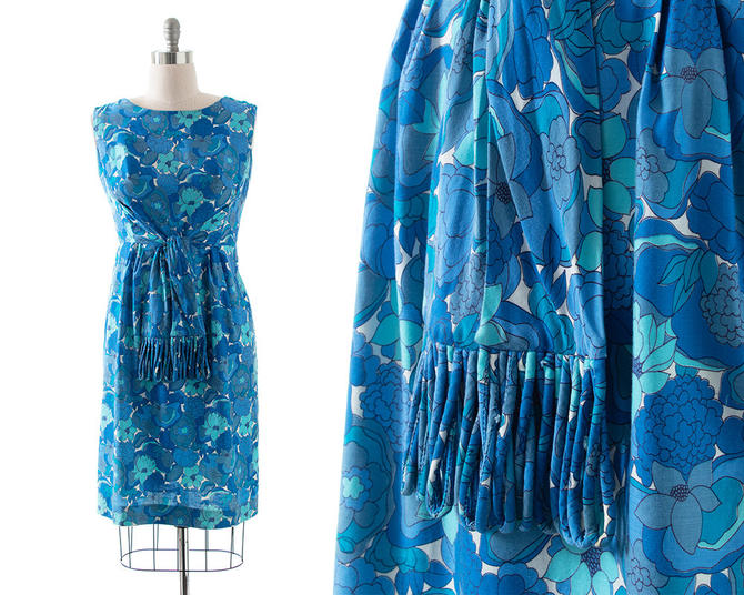 Vintage 1960s Sundress   60s Blue Floral Printed Cotton Tassel Ties Wiggle Sheath Day Dress (large) by BirthdayLifeVintage