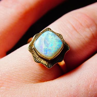 Vintage 14K Gold Opal Ring, Iridescent Blue Gemstone, Engraved Gold Setting, Art Deco Style, Size 6 1/2 US by shopGoodsVintage