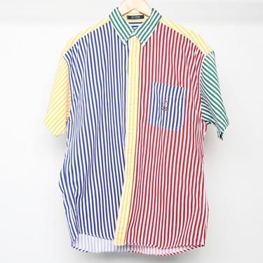 vintage chaps RALPH LAUREN color block striped Ralph Lauren button up shirt vintage 90s -- made in the U.S.A. -- size large by CairoVintage