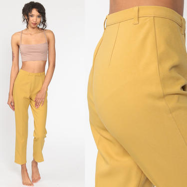 Mustard Yellow Pants 80s Benetton Trousers High Waisted Trousers 1980s Tapered Leg Vintage Preppy Small 26 by ShopExile