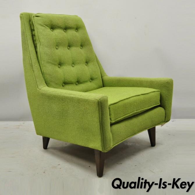 Vintage Mid Century Modern Walnut Pearsall McCobb Style Green Lounge Chair