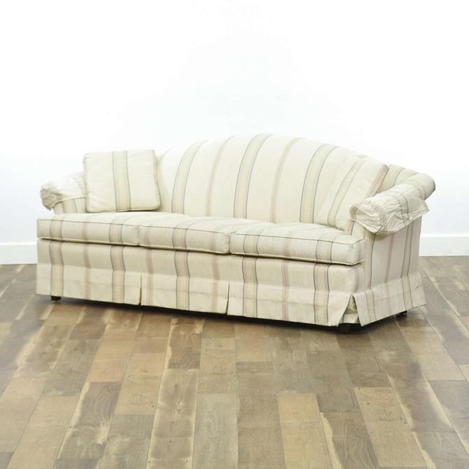 Vintage Striped Roll Arm Sofa
