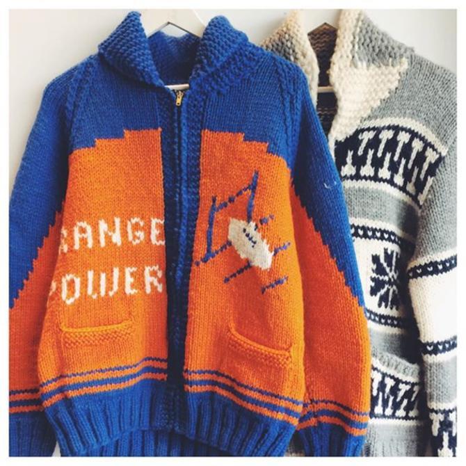 Shawl sweaters 1950s-60sOpen til 7 tonite #shoptreasury #fallfashion #footballsweater #1950s #orangepower #intarsia #dmv