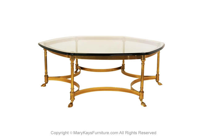 LaBarge Hexagonal Brass Glass Coffee Table by Marykaysfurniture