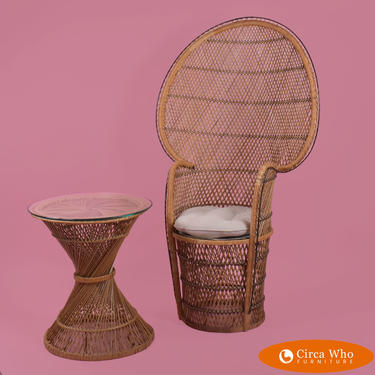Vintage Buri Rattan Peacock Chair With Table