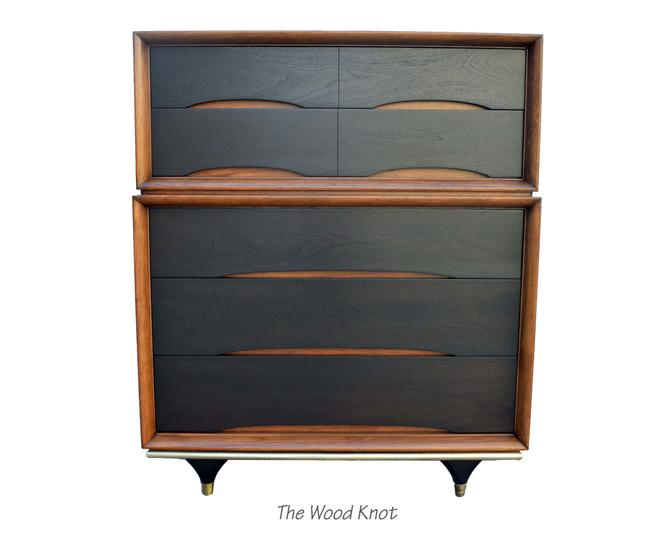 Mid-Century Modern Kent Coffey Black and Walnut Highboy Dresser