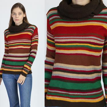 70s Striped Turtleneck Sweater - Medium   Vintage Fitted Long Sleeve Knit Pullover Jumper by FlyingAppleVintage
