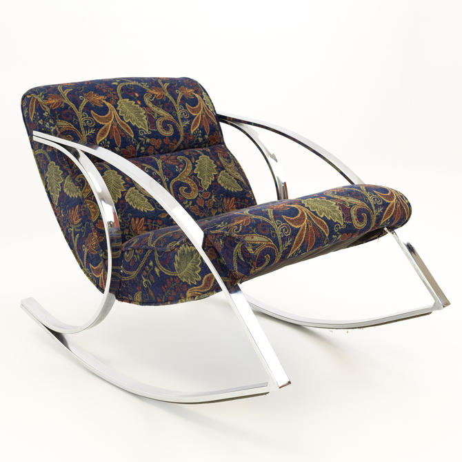 Milo Baughman Style Chrome Scoop Mid Century Modern Rocking Chair - mcm by ModernHill