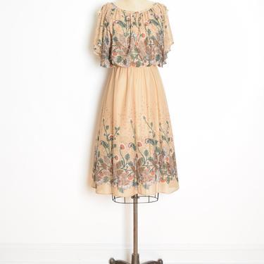 vintage 70s dress beige floral border print bloused hippie boho midi sun dress clothing S small by huncamuncavintage