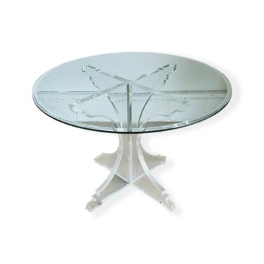 Mid-Century Modern Lucite Dining Table W Round Beveled Glass Top